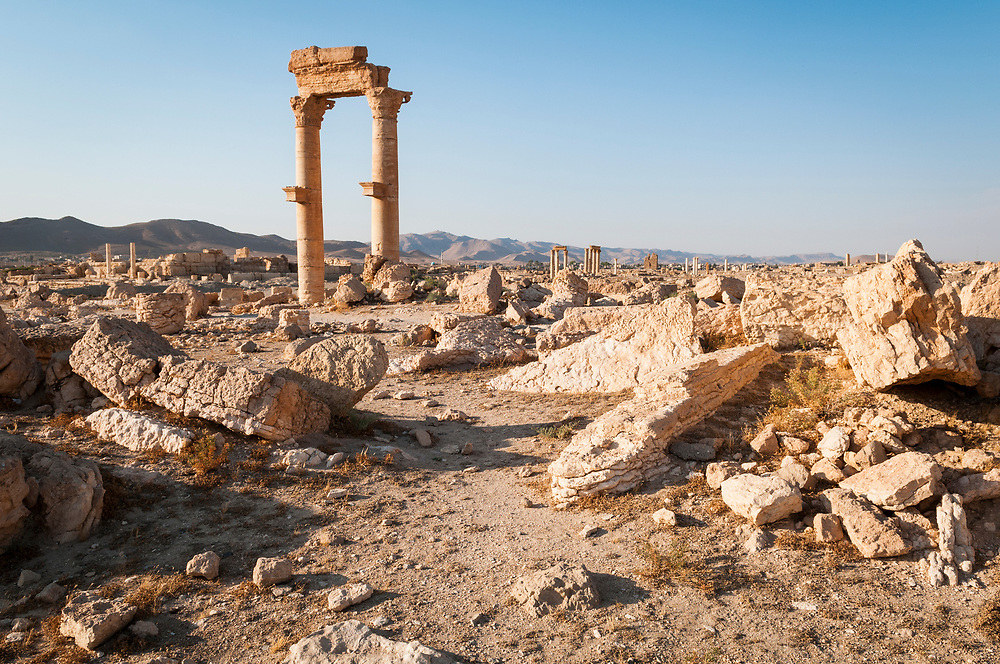 Landscape in the ancient ruins of Palmyra, Syria