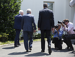 July 19, 2017 - Washington, District of Columbia, United States of America - United States Senate Majority Leader Mitch McConnell (Republican of Kentucky), center, US Senator John Cornyn (Republican of Texas), left, and US Senator John Thune (Republican of South Dakota), right, walk from the lectern after speaking to the media at the conclusion of a meeting with US President Donald J. Trump on repealing and/or replacing the Affordable Care Act (ACA), also known as ObamaCare at The White House in Washington, DC, July 19, 2017. .Credit: Chris Kleponis / CNP (Credit Image: © Chris Kleponis/CNP via ZUMA Wire)