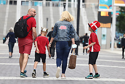 © Licensed to London News Pictures. 07/07/2021. London, UK. Denmark fans arrive at Wembley Stadium ahead of the Euro 2020 semi final between England and Denmark. England are attempting to reach their first final since 1966. Photo credit: Ben Cawthra/LNP