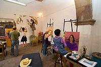 A painting class, Insituto de Bellas Artes, Centro Cultural Ignacio Ramirez (El Nigromante), San Miguel de Allende, Mexico