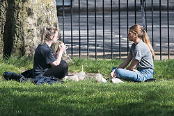 © Licensed to London News Pictures. 14/04/2020. London, UK. Member of the public relaxing and eating in the sun on Primrose Hill in North London, during a pandemic outbreak of the Coronavirus COVID-19 disease. The public have been told they can only leave their homes when absolutely essential, in an attempt to fight the spread of coronavirus COVID-19 disease. Photo credit: Ben Cawthra/LNP