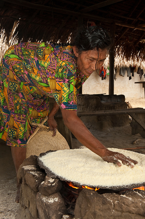 Amerindian woman, Winifred Brown MODEL RELEASE GYA#6 Making Cassava Bread.<br /> Katoka<br /> Rupununi<br /> GUYANA<br /> South America