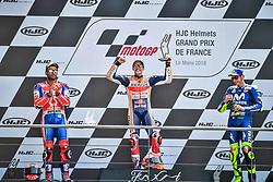 May 20, 2018 - Le Mans, France - 93 MARC MARQUEZ (ESP) REPSOL HONDA TEAM (JPN) HONDA RC213V WINNER #9 DANILO PETRUCCI (ITA) ALMA PRAMAC RACING (ITA) DUCATI DESMOCEDICI GP18 SECOND PLACE #46 VALENTINO ROSSI (ITA) MOVISTAR YAMAHA MOTOGP (JPN) YAMAHA YZR M1 THIRD PLACE (Credit Image: © Panoramic via ZUMA Press)