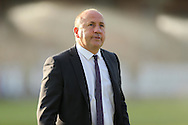 John Coleman, the Accrington Stanley manager arriving at the dugout before k/o. Skybet football league two play off semi final, 1st leg match, AFC Wimbledon v Accrington Stanley at the Cherry Red Records Stadium in Kingston upon Thames, Surrey on Saturday 14th May 2016.<br /> pic by John Patrick Fletcher, Andrew Orchard sports photography.