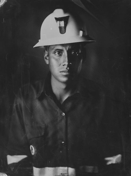 Alberto Escobedo Lozano. Tintype portraits from the SOTRAMI gold and silver mine in Santa Filomena, Peru. These are scans of collodion wetplate photographs.