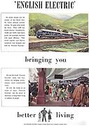 English Electric train railway advert advertising in Country Life magazine UK 1951