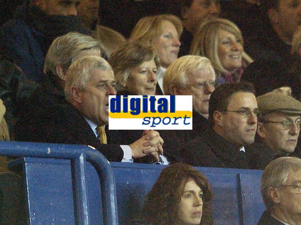 Photo. Jed Wee<br />Leeds United v Gillingham, AXA FA Cup Replay, Elland Road, Leeds. 04/02/2003.<br />Leeds' chairman Peter Ridsdale has an anxious moment against Gillingham.