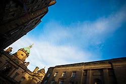 Buildings on Bank Street, Edinburgh in the December sunlight..Pic © Michael Schofield.