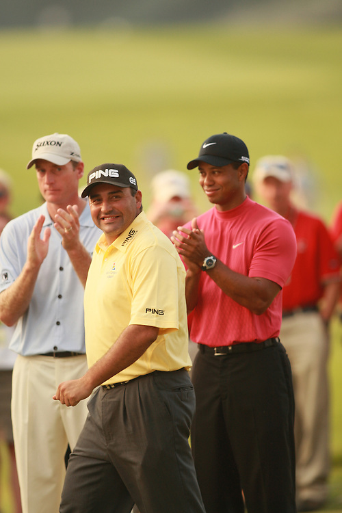 Tiger Woods and Angel Cabrera. 2007 US Open Championship, Oakmont COuntry Club, Oakmont, PA. Photograph © 2007 Darren Carroll
