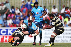 Marnus Hugo of Boland tackles Roelof Smit of the Blue Bulls during the Currie Cup premier division match between the Boland Cavaliers and The Blue Bulls held at Boland Stadium, Wellington, South Africa on the 23rd September 2016<br /> <br /> Photo by:   Shaun Roy/ Real Time Images