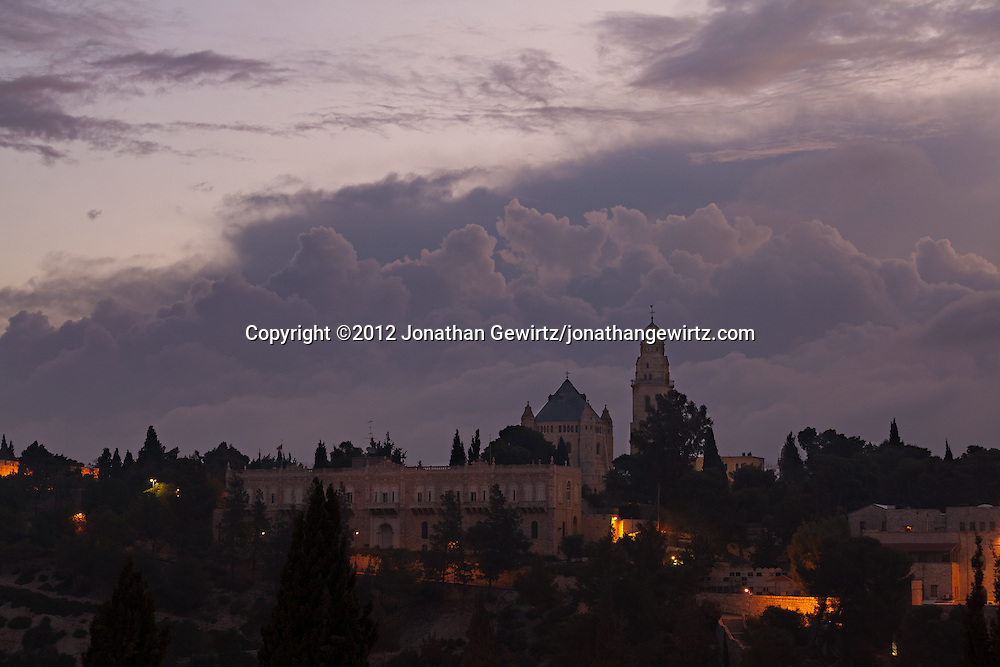 The Dormition Abbey on Jerusalem's Mount Zion shortly before dawn. WATERMARKS WILL NOT APPEAR ON PRINTS OR LICENSED IMAGES.