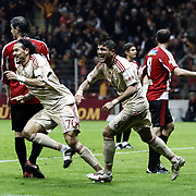 Galatasaray's Servet CETIN (L) celebrate his goal during their Turkish Superleague soccer match Galatasaray between Sivasspor at the Turk Telekom Arena at Aslantepe in Istanbul Turkey on Sunday 23 January 2011. Photo by TURKPIX