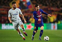 Lionel Messi of Barcelona takes on Olivier Giroud of Chelsea - Mandatory by-line: Matt McNulty/JMP - 14/03/2018 - FOOTBALL - Camp Nou - Barcelona, Catalonia - Barcelona v Chelsea - UEFA Champions League - Round of 16 Second Leg