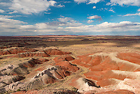 Shadows and sunlight reveal the range of colors that the Painted Desert in eastern Arizona is known for.