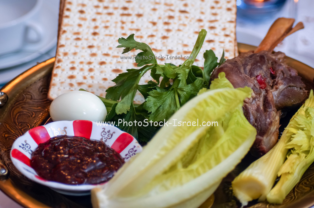 Traditional ritual dish set for a Jewish Festive meal on Passover