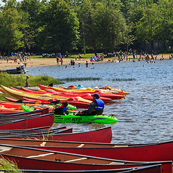 Benton, PA, USA - June 15, 2013: Boats for rent at the lake in Ricketts Glen State Park in northern Pennsylvania.