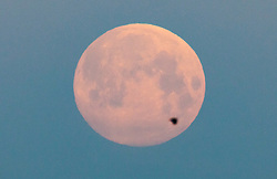 © Licensed to London News Pictures. 07/05/2020. London, UK. A bird passes in front of the near full supermoon as it sets over a misty London. Also know as the Flower Moon at this time of year - it will be at it's fullest as it rises later tomorrow. A supermoon is a full or new moon that comes closest to the Earth in its elliptical orbit—resulting in a slightly larger than usual apparent size when viewed from Earth. Photo credit: Peter Macdiarmid/LNP