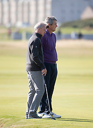 Johan Cruyff and Alan Hansen. Players art the 18th, Alfred Dunhill Links Championship at the Championship Course at Carnoustie.