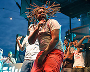 WASHINGTON, DC - August 17th, 2013 -  Washington D.C. rapper Fat Trel makes a guest appearance during Wale's set at the 2013 Trillectro Festival at the Half Street Fairgrounds in Washington, D.C.  (Photo by Kyle Gustafson / For The Washington Post)