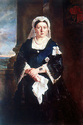 Victoria (1819-1901) Queen of United Kingdom of Great Britain and Ireland from 1837 and Empress of India from 1875. Three-quarter length portrait of queen wearing star and ribbon of Order of the Garter over black dress. Oil on canvas, c1880