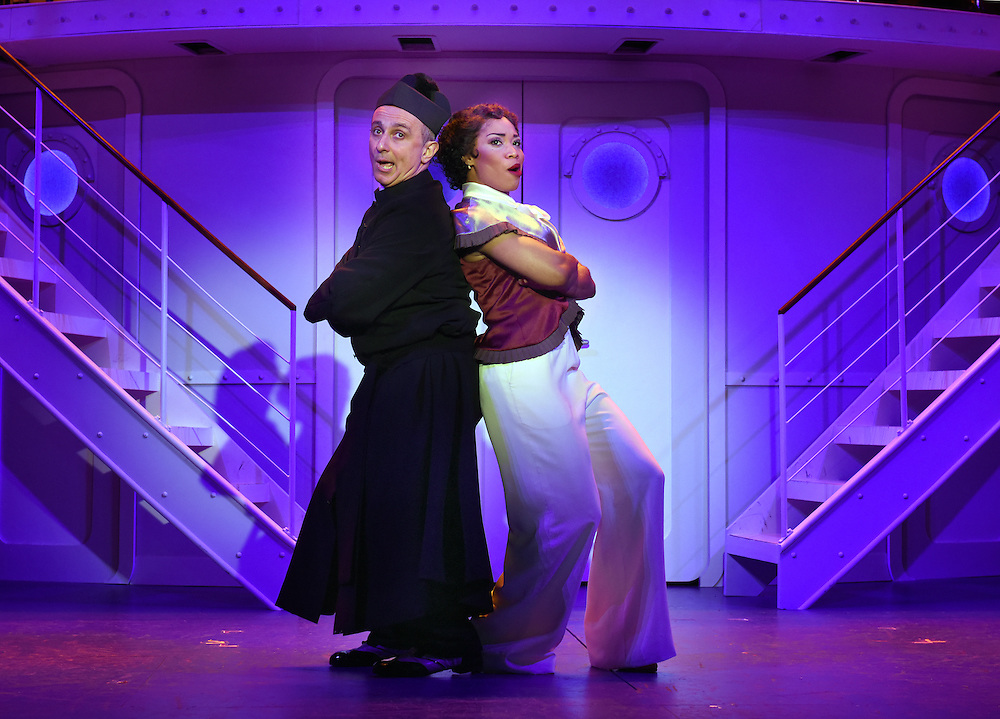 """April 7, 2016, East Haddam, CT<br /> Mara Lavitt -- Special to the Hartford Courant<br /> The run-through of  the classic Cole Porter musical """"Anything Goes"""" being performed at Goodspeed Musicals in East Haddam. Stephen DeRosa as Moonface Martin and Rashidra Scott as Reno Sweeney."""