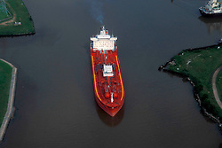 Aerial of Tanker Moving Through Port of Houston Waterway