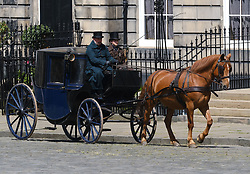 """Moray Place in Edinburgh's Georgian old town was turned into 19th century London for Julian Fellowes' new ITV show """"Belgravia"""".<br /> <br /> Pictured: Horses and carriages in the old town during filming<br /> <br /> Alex Todd 