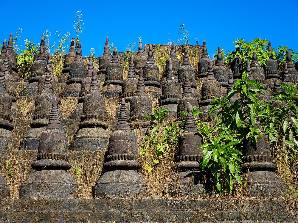 MRAUK U, MYANMAR - CIRCA DECEMBER 2017: Exterior view of the Koe Thaung Pagoda In Mrauk U, Rakhine State.