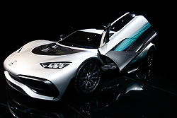 "November 7, 2018 - SãO Paulo, Brazil - SÃO PAULO, SP - 07.11.2018: SALÃO INTERNACIONAL DO AUTOMÃ""VEL SP 2018 - In the photo, the Mercedes-AMG ONE, the most expensive car of the fair with the value of 2.2275.000,00 Euros. The International Automobile Show of São Paulo, the largest exhibition of the automotive industry in Brazil and one of the largest in Latin America, begins this Thursday (08) at the São Paulo Expo, in the south zone of the city of São Paulo. The event takes place every two years in the city of São Paulo, with the aim of showing the latest developments in the automotive world, exposing cars, equipment and accessories. (Credit Image: © Aloisio Mauricio/Fotoarena via ZUMA Press)"