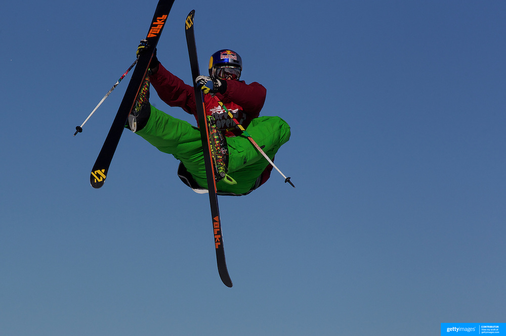 Markus Eder, Italy, in action in the Slopestyle Finals during The North Face Freeski Open at Snow Park, Wanaka, New Zealand, 2nd September 2011. Photo Tim Clayton...