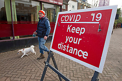 © Licensed to London News Pictures 23/01/2021.        Chislehurst, UK. A Covid-19 Keep your distance sign in Chislehurst High Street, South East London during a third Coronavirus lockdown. Photo credit:Grant Falvey/LNP