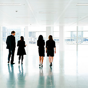 Rear view of business people in office