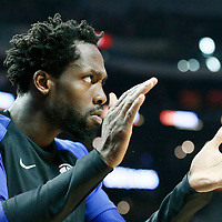 LOS ANGELES, CA - MAR 19: Patrick Beverley (21) of the LA Clippers celebrates during a game on March 19, 2019 at the Staples Center, in Los Angeles, California.