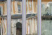 Reflection of old facade in new Kremlin building, Moscow Russia