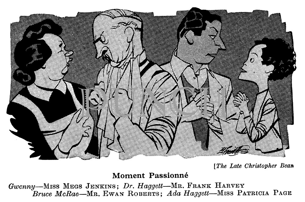 At The Play ; Embassy<br />  Theatre ; The Late Mr Bean ; Megs Jenkins , Frank Harvey , Ewan Roberts and Patricia Page