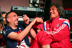 """17.05.2014, T Com, Berlin, GER, DFB Pokal, Bayern Muenchen Pokalfeier, im Bild Franck Ribery (L) of Bayern Muenchen jokes with the team doctor Hans-Wilhlem Mueller-Wohlfahrt Franck Ribery, Hans-Wilhlem Mueller-Wohlfahrt, // during the FC Bayern Munich """"DFB Pokal"""" Championsparty at the T Com in Berlin, Germany on 2014/05/17. EXPA Pictures © 2014, PhotoCredit: EXPA/ Eibner-Pressefoto/ EIBNER<br /> <br /> *****ATTENTION - OUT of GER*****"""