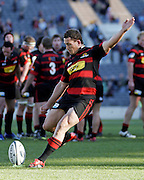 Canterbury captain and second five eighths Cameron McIntyre converts a try during the Air New Zealand Cup week 7 Ranfurly Shield match between Canterbury and Counties Manukau on Sunday September10, 2006 at Jade Stadium in Christchurch, New Zealand. Canterbury won the game 32-16. Photo: Jim Helsel/Photosport