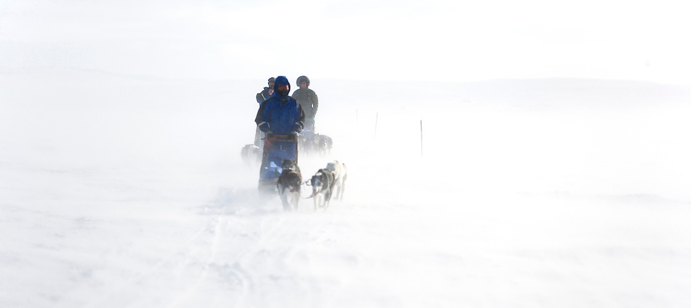 The last day of the expedition, a blizzard comes through as we travel the 60km from our last camp at Joatka, back to base camp in Gargia