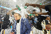 Montverde Coach Kevin Boyle gets a gatorade bath after winning the Geico Nationals in Fort Myers, FL.