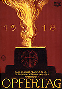 World War I 1914-1918, defeat of Germany.' Day of Sacrifice', 1918: German poster showing an altar with a cross in the form of a dagger, and imploring the holy flame to burn brightly forever for the Fatherland.