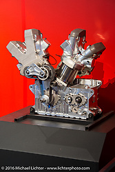 One of the engines from the Vance and Hines Harley-Davidson V-Rod, which was raced from 2005-2008 and was the first pro-stock racer to get under a 7-second elapsed time, on display in Drag Racing: America's Fast Time - exhibition at the Harley-Davidson Museum during the Milwaukee Rally. Milwaukee, WI, USA. Saturday, September 3, 2016. Photography ©2016 Michael Lichter.