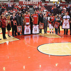 Mar 7, 2009; Piscataway, NJ, USA; Graduating seniors of the Rutgers basketball team with their families during the senior celebration prior to Rutgers' senior day game against South Florida at the Louis Brown Athletic Center.  Rutgers won 45-42.