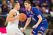 FORT WORTH, TX - FEBRUARY 6: Sviatoslav Mykhailiuk #10 of the Kansas Jayhawks defends against the TCU Horned Frogs on February 6, 2016 at the Ed and Rae Schollmaier Arena in Fort Worth, Texas.  (Photo by Cooper Neill/Getty Images) *** Local Caption *** Sviatoslav Mykhailiuk