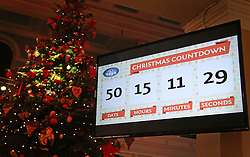 © Licensed to London News Pictures. 04/11/2015. London, UK. A screen at the Dream Toys Christmas event shows the days, hours, minutes and seconds left until Christmas day. Photo credit: Peter Macdiarmid/LNP