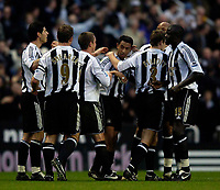 Photo: Jed Wee.<br />Newcastle United v Middlesbrough. The Barclays Premiership. 02/01/2006.<br />Newcastle celebrate with goalscorer Nolberto Solano (C).
