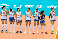 14-10-2018 JPN: World Championship Volleyball Women day 15, Nagoya<br /> Japan - Serbia / Tijana Boskovic #18 of Serbia, Stefana Veljkovic #11 of Serbia, Bojana Zivkovic #4 of Serbia, Ana Bjelica #13 of Serbia, Jovana Stevanovic #15 of Serbia, Silvija Popovic #17 of Serbia, Maja OgnjenovicC #10 of Serbia