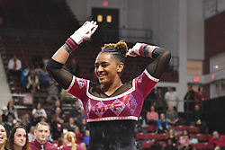 March 9, 2018 - Philadelphia, Pennsylvania, U.S - Temple Owls gymnast YASMIN EBUBANKS competes on uneven bars during a meet held in Philadelphia, PA. Temple finished second to Maryland in the tri-meet. (Credit Image: © Ken Inness via ZUMA Wire)