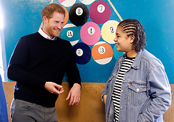 February 19, 2019 - London, London, United Kingdom - Image licensed to i-Images Picture Agency. 19/02/2019. London, United Kingdom.  Prince Harry, The Duke of Sussex,  speaks to Tiana Baptiste during a visit to at a Fit and Fed half-term initiative in London. The national Fit and Fed campaign aims to provide children and young people with free access to activity sessions and a nutritious lunch during school holidays. (Credit Image: © Pool/i-Images via ZUMA Press)