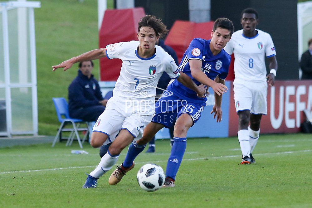 Samuele Ricci of Italy (7) and Nadav Aviv Niddam of Israel (15) during the UEFA European Under 17 Championship 2018 match between Israel and Italy at St George's Park National Football Centre, Burton-Upon-Trent, United Kingdom on 10 May 2018. Picture by Mick Haynes.