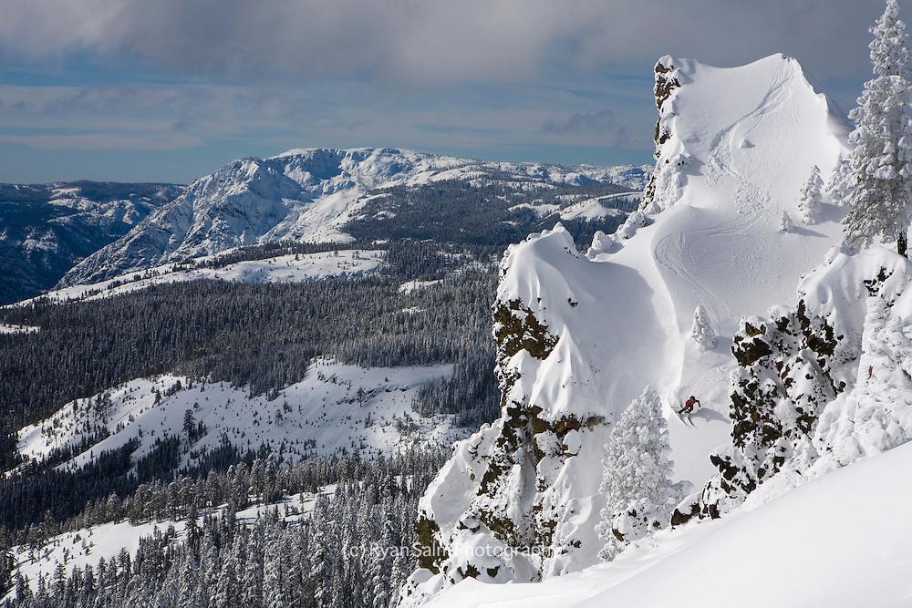 Sidecountry skiing off Sugar Bowl. Sierra Nevada, Lake Tahoe<br /> <br /> Miles Clark